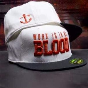 FNF work is in my blood white black hat